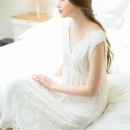 72a72ec23c Summer V-neck White Sexy Long Sleep Lounge Sleepwear Female Home Dress Lace  Princess Vintage Nightgown Women Sleeping Dress  L20