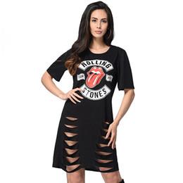 Agujeros negros atractivos de la camisa online-Agujeros causales del verano vestido de la camiseta para las mujeres de manga corta negro flojo gótico Vestidos 2018 nueva impresión sexy ahueca hacia fuera la camisa vestidos