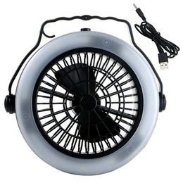 Wholesale Fan Bulbs - Vioslite Outdoor Camping Portable USB Rechargeable LED Fan Light Lantern Multifunction Hanging Tent Lamp W Hook 3 Modes