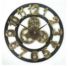 panneau marcheur Promotion Fait à la main surdimensionné 3D rétro art décoratif de luxe rustique grande vitesse en bois vintage grande horloge murale sur le mur pour cadeau 20 pouces
