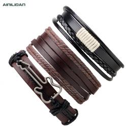 Гитарные браслеты онлайн-AINILIDAN Fashion Three-piece Leather Bracelets Vintage Weaving Wax Rope With Guitar Wristband Bangles For Men and Women