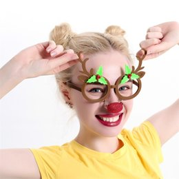 Wholesale Funny Halloween Gifts - Creative Funny Glasses Cute Cartoon Deer Horn Spectacles Christmas Gift Birthday Party Decoration New Arrive 8sf C