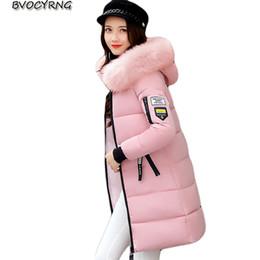 Wholesale Long Heavy Hair - Wholesale- Heavy Hair Collar Winter Down Cotton Coat Jacket Women 2017 New Winter Long Parka Thicke Big Yards Slim Female Outerwear Q776