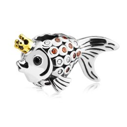 2020 perline di pesci per braccialetti Pave Clear Crystal Angel Fish Charms Beads Authentic 925 Sterling-Silver-Jewelry Pesce d'oro Bead per gioielli fai da te Brand Bracciali