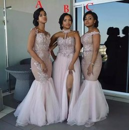 72d8631ab44e Dusty Pink Mixed Style Mermaid Bridesmaid Dresses 2018 Off Shoulder Lace  Appliques Split Sash Tulle Floor Length Halter Maid of Honor Gowns