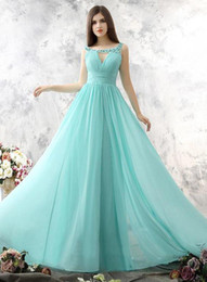 Wholesale Dress Color Aqua - Aqua Blue Long Chiffon Bridesmaids Dresses 2018 A Line Scoop Keyhole Front Sheer Lace Appliques Beaded Low Back Maid of Honor Dresses Cheap