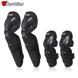 Wholesale armor knee pads - 4PCS Adult Motocross Elbow Knee Shin Armor Protection Pads Motorcycle Bicycle Racing Riding Sports Protective Gear