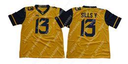 2019 jerseys de fútbol 14 14 NCAA College Jersey David Sills V West Virginia Mountaineers College Fútbol Jerseys Amarillo jerseys de fútbol 14 baratos