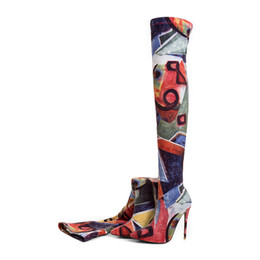Wholesale floral boots - 2018 summer high heels 12cm stilettos over the knee boots Stretch thigh high boots big size flowers woman shoes sexy ladies