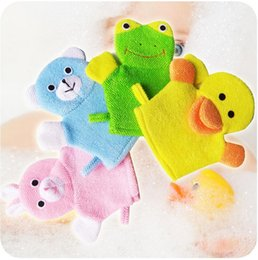 Wholesale Gloves Cartoon - Baby Children Animal Shape Bath Gloves 4 color Baby Cartoon Towel Animal Faces Bathing Time Fun EEA168