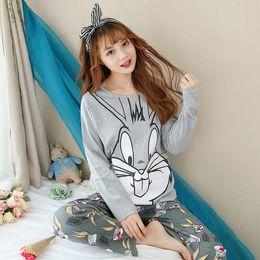 8a2d9044c2b0 100% Baumwolle Nette Mädchen Cartoon Pyjamas Sets für Frauen 2018 Herbst  Winter Langarm Pyjama Homewear Lounge Pijama Hause Kleidung