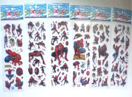 Autoadesivo dell'uomo del ragno 3d online-100sheets Bubble Stickers Toys 3D Cartoon Super Hero Spiderman adesivi Scrapbook Spider man per bambini ragazzi regalo