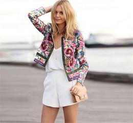 blazers stampati per le donne Sconti Office Ladies 2018 Tuta da lavoro Vintage etnica stampa floreale Blazer donna casual formale femminile formale giacca elegante femminile
