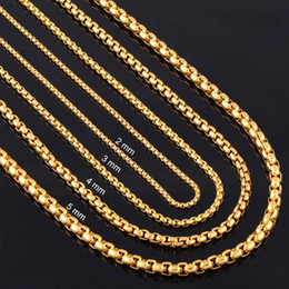 Wholesale 4mm Gold Chain - whole saleWidth 2mm 3mm 4mm 5mm Gold Stainless Steel Round Box Link Chain Never Fade Waterproof Wholesale