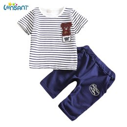 Wholesale fantasia blue - LONSANT Fashion Baby Clothes Set Cotton Stripe T-Shirt Shorts Pants Set Unisex Fantasias Infantil Children Clothing Dropshipping