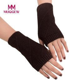 2017 Frauen Mädchen Gestrickte Wolle Arm Fingerlose Warme Winter Handschuhe Weichen Schwarz Rot Gelb Kaffee Khaki Weiß Grau Warme Fäustling # 1109 von Fabrikanten