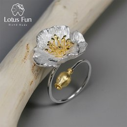 Lotus Fun Real 925 Sterling Silver Handmade Designer Fine Jewelry Blooming Poppies Flower Anillos para Mujeres Bijoux desde fabricantes