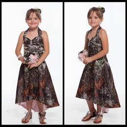 Wholesale Outside Kids - New Cheap Halter Camo Flower Girls Dresses High Low Satin Outside Countryside Formal Kids Wedding Party Wear Hi Lo Summer 2018