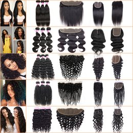 Wholesale Brazilian Ombre Hair - Brazilian Virgin Hair 3 Bundles with Lace Frontal Closure Straight Human Hair Kinky Curly Body Deep Wave Peruvian Hair Bundles with Closure
