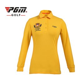 long sleeve polo for women Promo Codes - PGM New Golf T Shirts For Women Long Sleeve Breathable Sports T Shirt Professional Lady Golf Training Polo Shirts Clothing