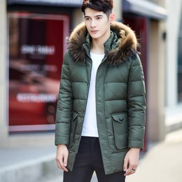 Wholesale Long Jackets Fur Hood Mens - Winter Mens Big Fur Hood Down Jackets Fashion Thick Warm Long Duck Down Coats Quality Clothing Male Parka Outerwear JK-1318