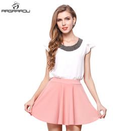 Wholesale flared mini skirt high waist - Women Summer Hot High Waist Knitted Skirts Women Pleated mini Skirt Casual Elastic Flared Skirt Female midi Black QQQQ ^_^