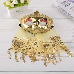 Wholesale Adult Indian Costumes - Indian Dance Belly Dance Veil of Mystery Princess Boutique Sequined Lace Mask Masquerade Party Masks Costume Mask E92