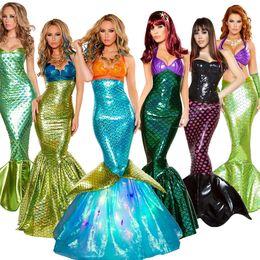 Faldas princesa adultos online-Disfraz de Halloween Cosplay Adulto Cosplay Sirena Princesa Vestido Sexy Wrap Chest Mermaid Tail Falda Para mujeres