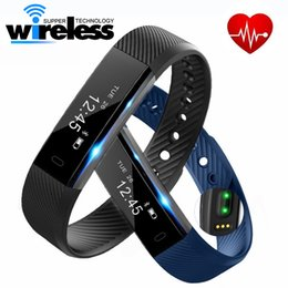 Wholesale Band Steps - ID115 HR Smart Bracelet Fitness Heart Rate Tracker Step Counter Activity Monitor Band Vibration Wristband for iphone 8 X samsung tiantianapp