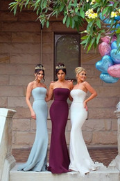 Wholesale modest prom dresses champagne color - 2018 Modest Mermaid Bridesmaids Dresses Strapless Zipper Back Sweep Train Country Maid Of Honor Party Prom Gowns Cheap Custom