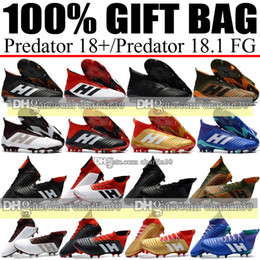 Wholesale Ups Ground - 2018 Outdoor Laceless High Ankle Top Football Boots Predator 18.4 FG Soccer Cleats Socks Leather Firm Ground Soccer Shoes Black White Gold
