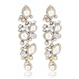 Wholesale Flowers Free Delivery - European and American style simple pearl earring female hot style chain women long diamond earrings free delivery
