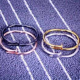 Wholesale Titanium Alloy Bracelet - couple titanium steel Roman black Pink Gold Silver nail rose gold bracelet Fashion Jewelry For Women and Men