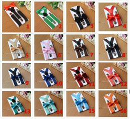 Wholesale boys white suspenders - 26colors Kids Suspenders Bow Tie Set for 1-10T Baby Braces Elastic Y-back Boys Girls Suspenders accessories BY0112