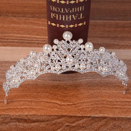 2019 coroa pérola princesa cabelo Barroco Coreano Prateado Cristal Princesa Pérolas Circlet nupcial coroa e tiaras strass Handmade Acessórios Do Casamento Por Atacado De Noiva De Noiva coroa pérola princesa cabelo barato