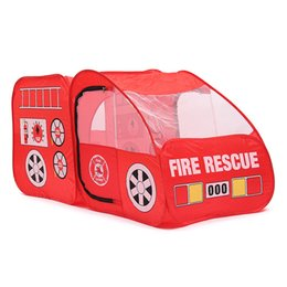 Wholesale Red Fire Truck - Wholesale-New Arrival Portable Fire Truck Play Tent Kids Pop Up Indoor Outdoor Playhouse Toy Gift Playing Tent For Child Kid