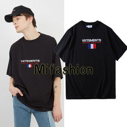 Wholesale Animal Print Cotton - Europe 2018 Summer Fashion Vetements Oversized T shirt Embroidery France Flag Hip Hop Haute Couture Tshirt Tee Top