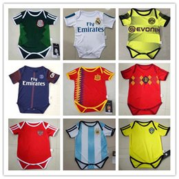 Wholesale Baby Clothed - kids 17 18 Real Madrid Baby soccer Jerseys Cotton Short Sleeves Jumpsuit Baby Triangle Climb Clothes Loveclily 2017 2018 baby's jersey shirt