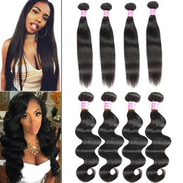 Wholesale Cambodian Weave Extensions - Brazilian Virgin Hair Body Wave Weaves 8A Peruvian Straight Human Hair Bundles Unprocessed Straight Weave Bundles Body Wave Hair Extensions