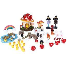 Wholesale plastic dollhouses - 62pcs Miniatures Garden Fairy Decoration Resin Crafts Micro Landscape Diy Dollhouse Bonsai Figurine Terrarium Toys Ornaments