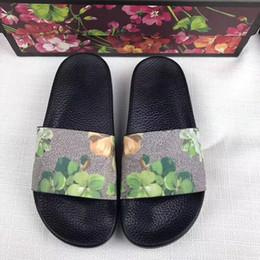 Wholesale women cow slippers - Fashion slide sandals slippers for women 2018 Hot Designer flower printed Luxury BRAND new unisex beach flip flops slipper blooms print best