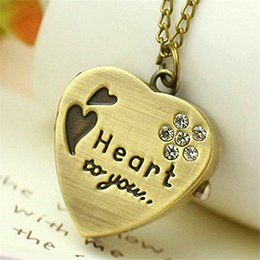 Wholesale Necklace Chain Pocket Watch Heart - OTOKY New Love Heart to you Bronze Necklace Chain Pocket Watch Necklace With Diamand Chain Gift P23 Drop Shipping Feb23