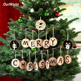 Wholesale plastic round ornament - Ourwarm 20pcs Christmas Tree Hanging Ornaments 5 -6cm Round Wood Slice Nature Wooden Gift Tag Christmas Decorations For Home