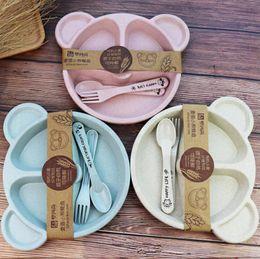 Set di forchetta del cucchiaio del fumetto online-Piatti per bambini Set per piatti per bambini Piatti per alimenti Piatti per piatti Set con cucchiaio forchetta Piatti da tavola eco-friendly