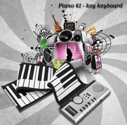 Wholesale Piano Rolls - Portable 61 Keys Universal Flexible Roll Up Electronic Piano Soft Keyboard Piano MIDI Build in Speaker Electronic Piano KKA5179