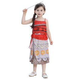 Wholesale Spaghetti Strap Skirt Top - 2018 Children Costumes dresses Fairy Tales clothing Print Top+ skirt 2pcs Performance Spaghetti strap Beach dresses Tassels Boutique