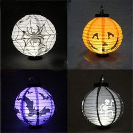lanterna di carta fantasma Sconti 8 pollici 5 pz / lotto Halloween Lanterne di carta a LED zucca ragno pipistrello luci fantasma lampada a sospensione puntelli decorazione per feste
