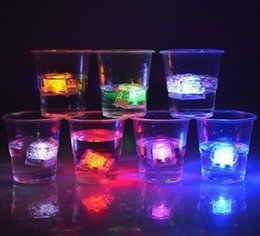 Wholesale led cube lights decorations - LED Party Ice Cube Flash Lights Submersible Liquid Sensor Party LED Decoration Supplier Luminous Ice Cube EEA400 60PCS
