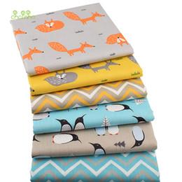 Material de algodón para coser online-Chainho, 6pcs / lot de la nueva Serie pingüino de sarga de algodón Tela, remiendo de tela, costura DIY BabyChild acolchar Cuartos gordos de materiales