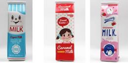 Wholesale File Storage Case - Pencil case Hot Cartoon Milk bottle school cute PU pen bag storage pouch Korea Stationery material office school supplies escolar